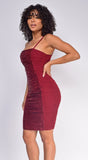Arya Burgundy Red Sequin Mesh Ruched Dress