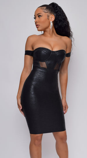 You Could Never Black Metallic Off Shoulder Bandage Dress