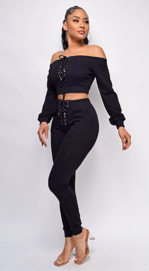 Carmend Black Lace Up Detail Off Shoulder Joggers Set