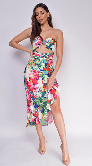 Maren White Troprical Floral Print Bandeau Slit Dress