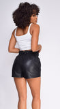 Kora Black PU Leather Shorts