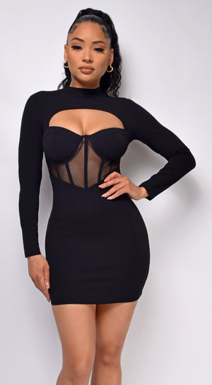 Joani Black Bustier Mesh Cut Out Dress