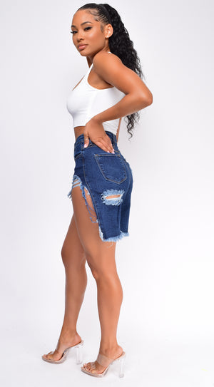 Pamelia Blue Shredded Super High Rise Denim Shorts