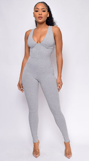 Aisley Grey Ribbed Jumpsuit