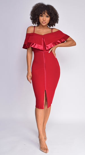 Johari Wine Red Satin Detail Off Shoulder Midi Dress