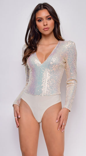 All Shine Nude Opal Long Sleeve Sequin Bodysuit