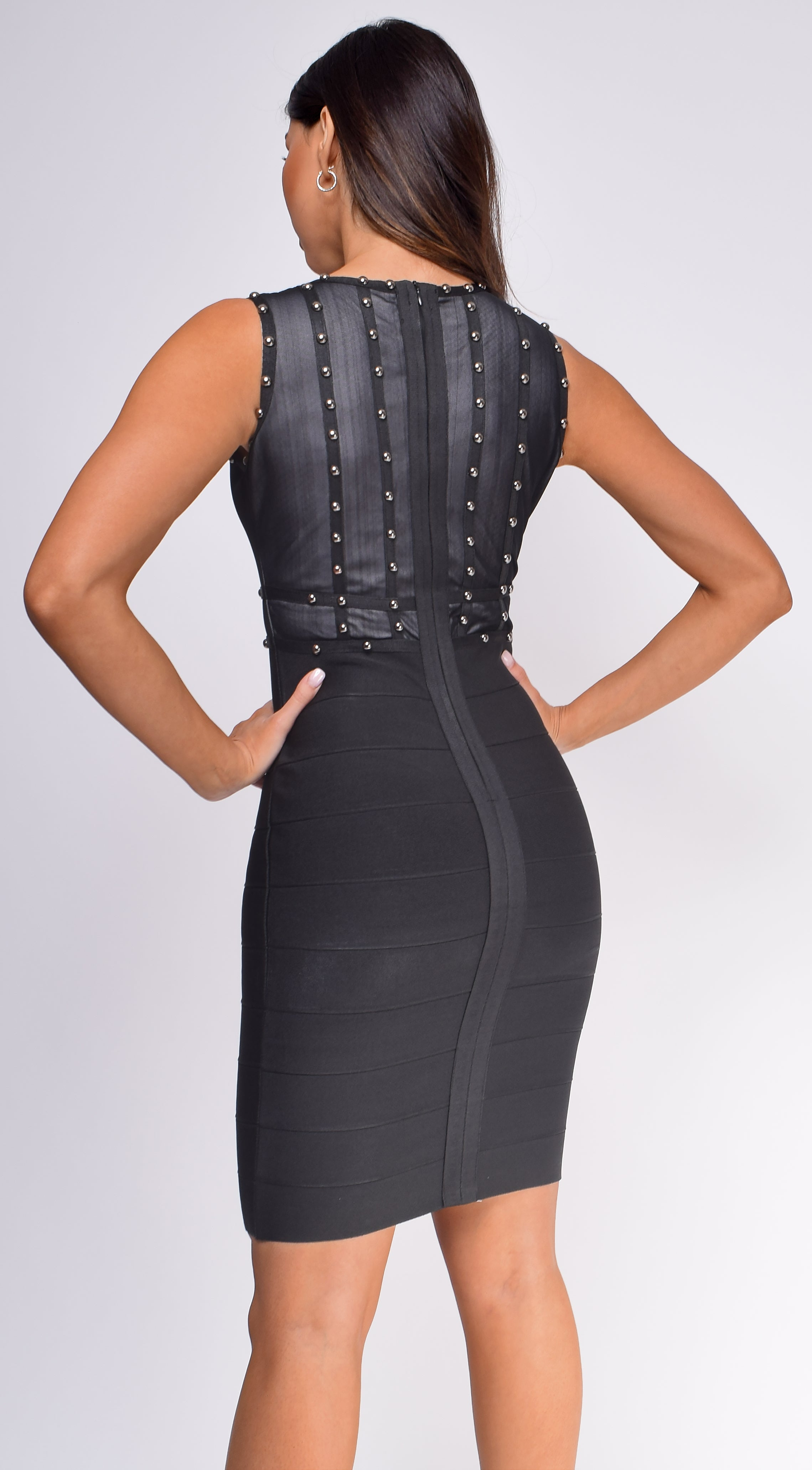 Azlynn Black Studded Bandage Dress