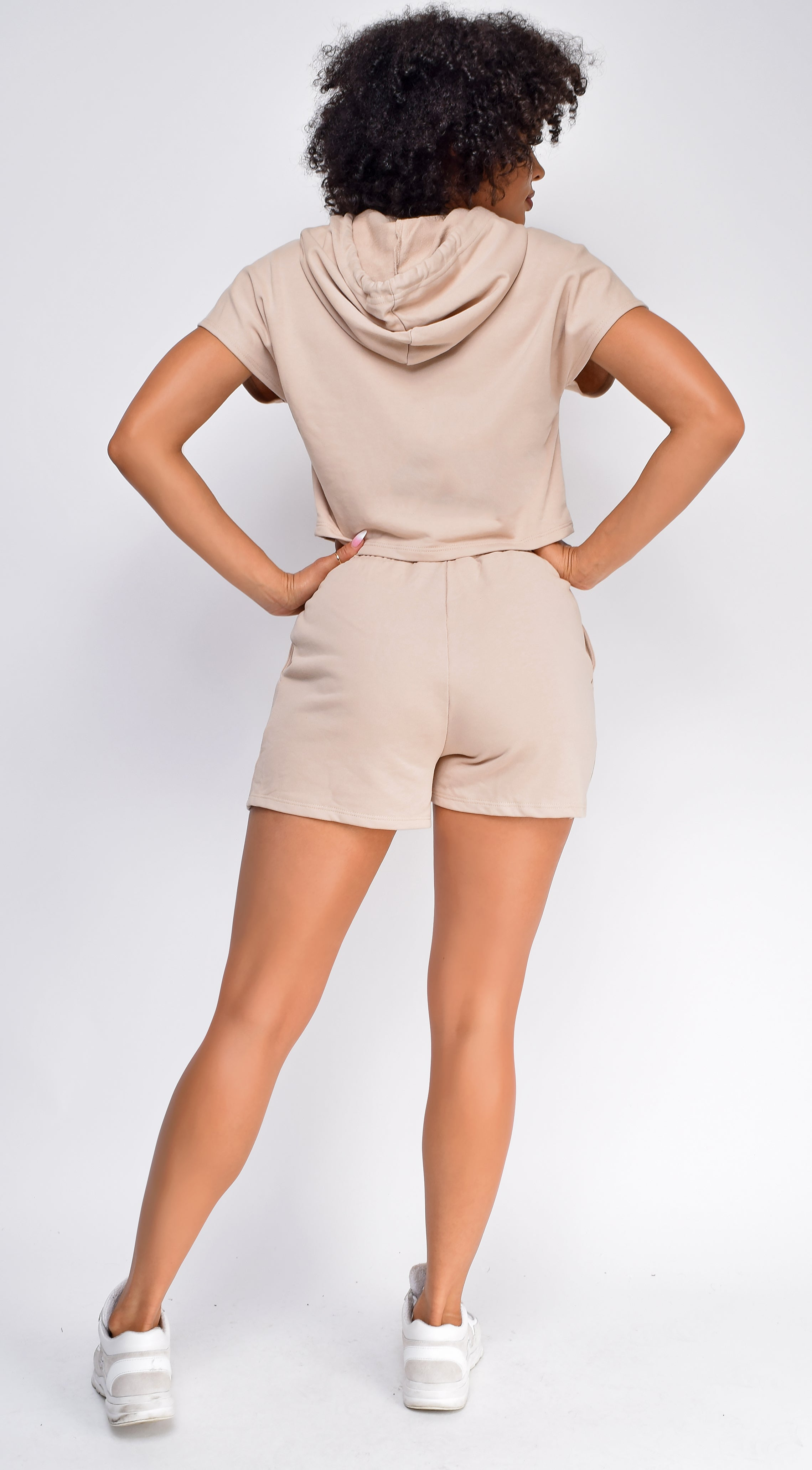 Chenille Sand Beige Crop Hoodie And Short Set