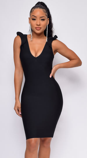 Love At First Sight Black Cross Back Bandage Dress