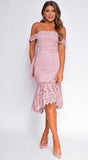 Edeta Mauve Pink Off Shoulder Lace Midi Dress