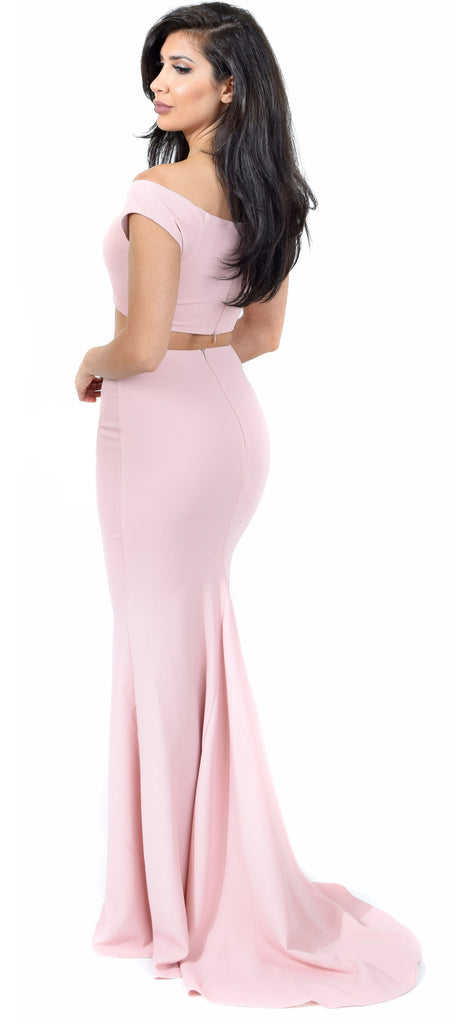 Blush Off Shoulder Maxi Two Piece Set Dress - Emprada