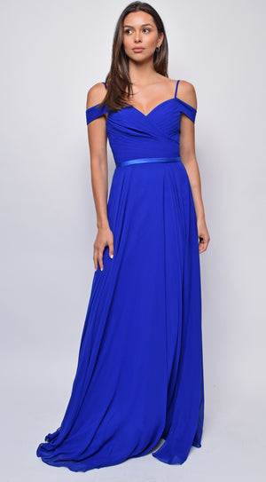 Kinsley Royal Blue Pleated Maxi Dress