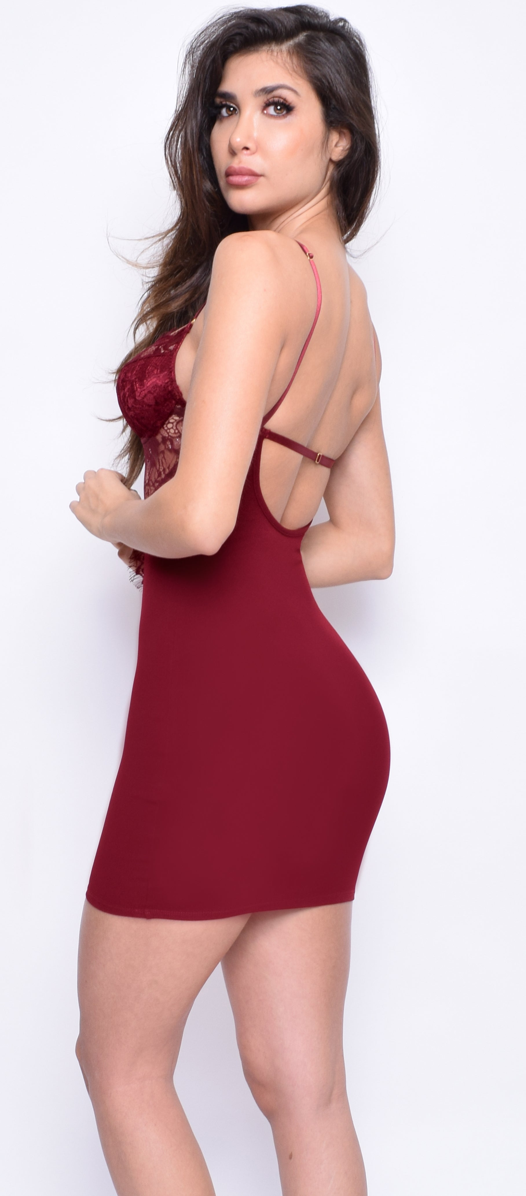 Cita Red Wine Lace Bustier Dress - Emprada