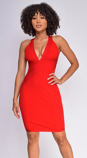 Anamaria Red Halter Neck Ribbed Bandage Dress