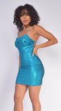 Cyrille Blue Glitter Sequin Dress