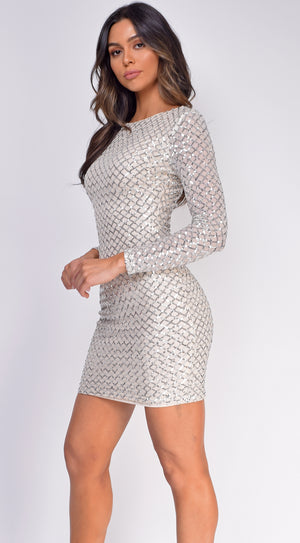 Kimberly Ivory White Sequin Long Sleeve Dress