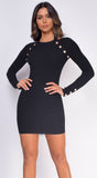 Alexa Black Gold Button Long Sleeve Ribbed Dress