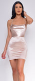 Katrice Beige Nude Satin Mini Dress