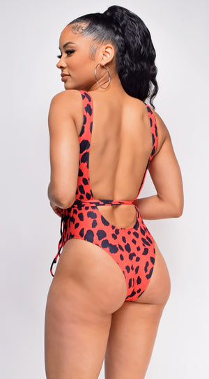 Mayreau Red and Black Cutout Animal Print Wrap Around Monokini Swimsuit
