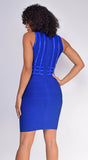 Kalisa Royal Blue Mock Neck Studded Bandage Dress
