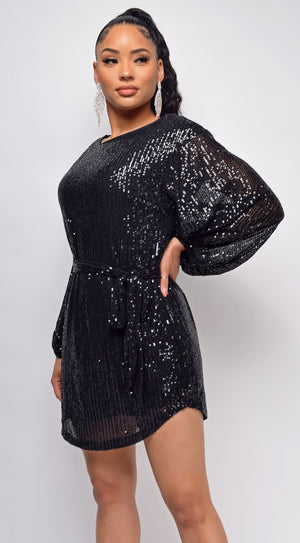 Tara Black Belted Sequin Dress