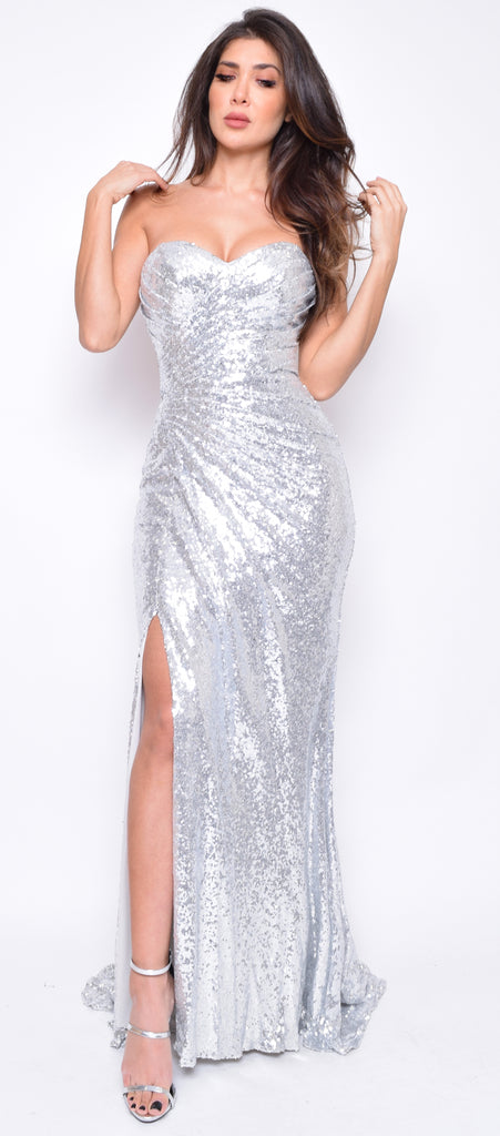 Parisa Silver Slit Sequin Gown