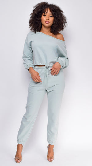 Serious Chills Sage Green Off Shoulder Sweater and Joggers Lounge Set