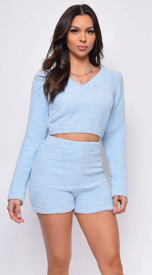 Yazmin Blue Fuzzy V Neck Sweater And Shorts Set