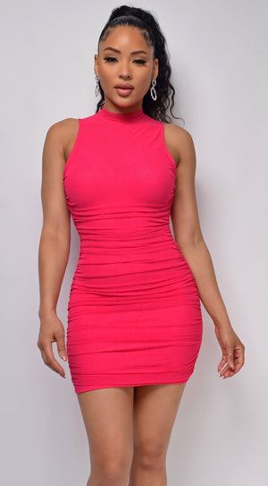 Girls Night Pink High Neck Ruched Dress
