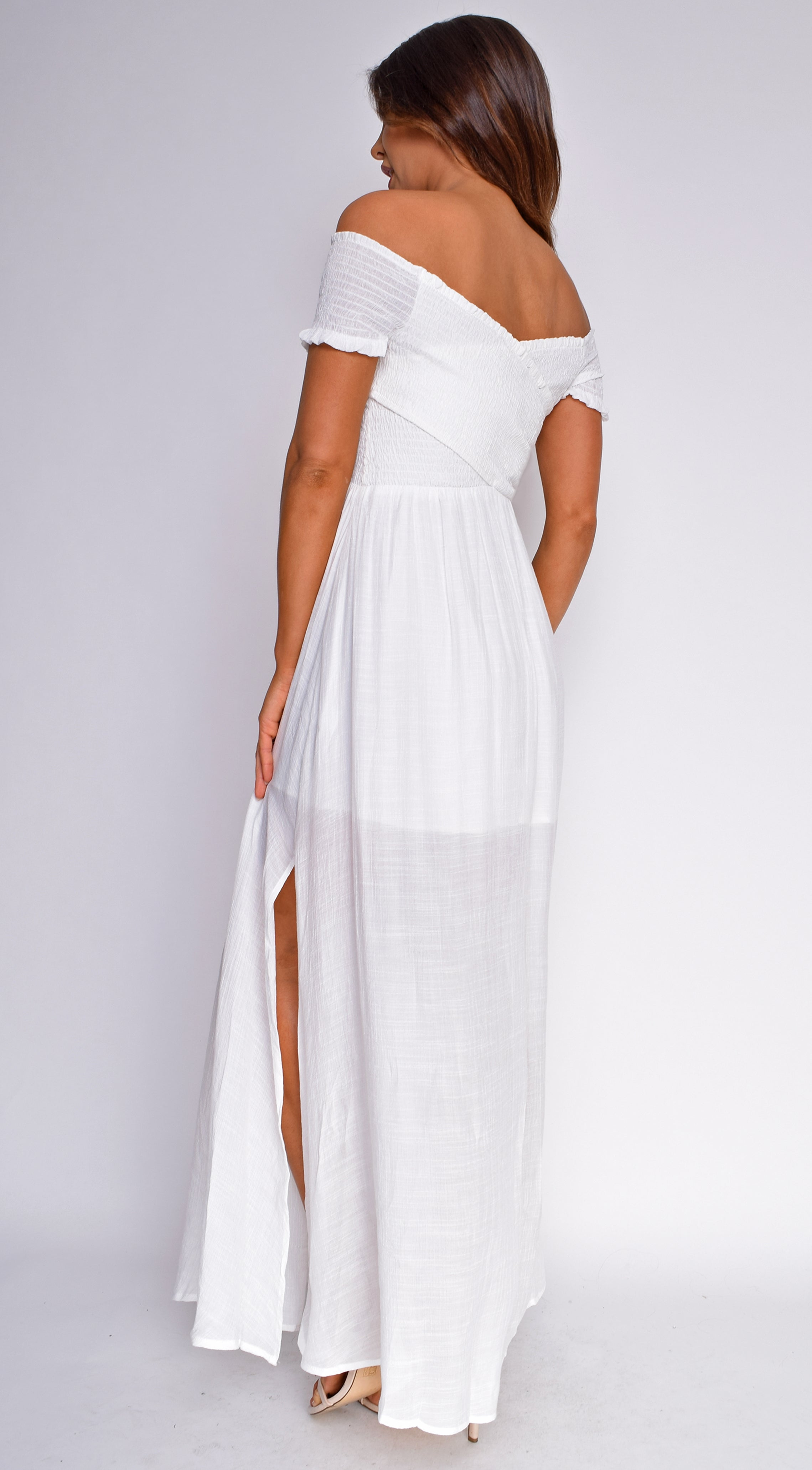 Zarina White Smocked Cross Strap Maxi Dress