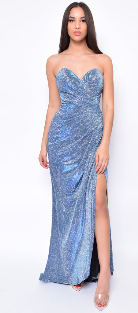 Maisie Teal Blue Silver Sparkle Wrap Gown