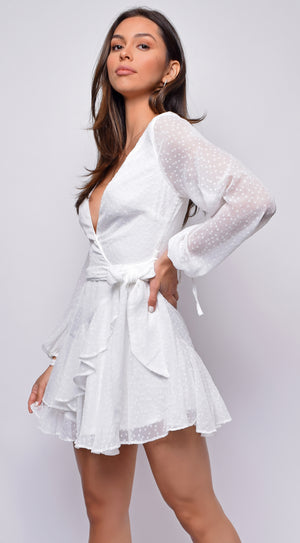 Zahra White Textured Chiffon Long Sleeve Dress