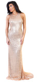 Rose Gold Sequin Overlay Gown - Emprada