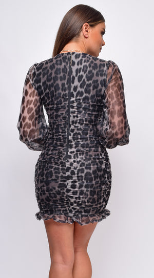 Azie Grey Leopard Chiffon V Neck Ruched Mini Dress