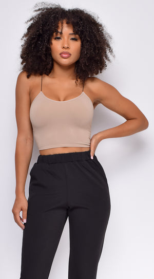 Joie Dark Taupe Beige Seamless Spaghetti Strap Ribbed Bottom Brami