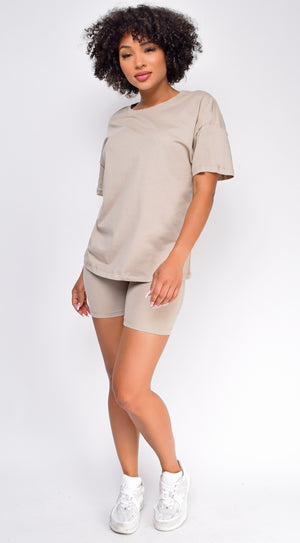 Oversized Sand Beige T-Shirt And Biker Short Two Piece Set