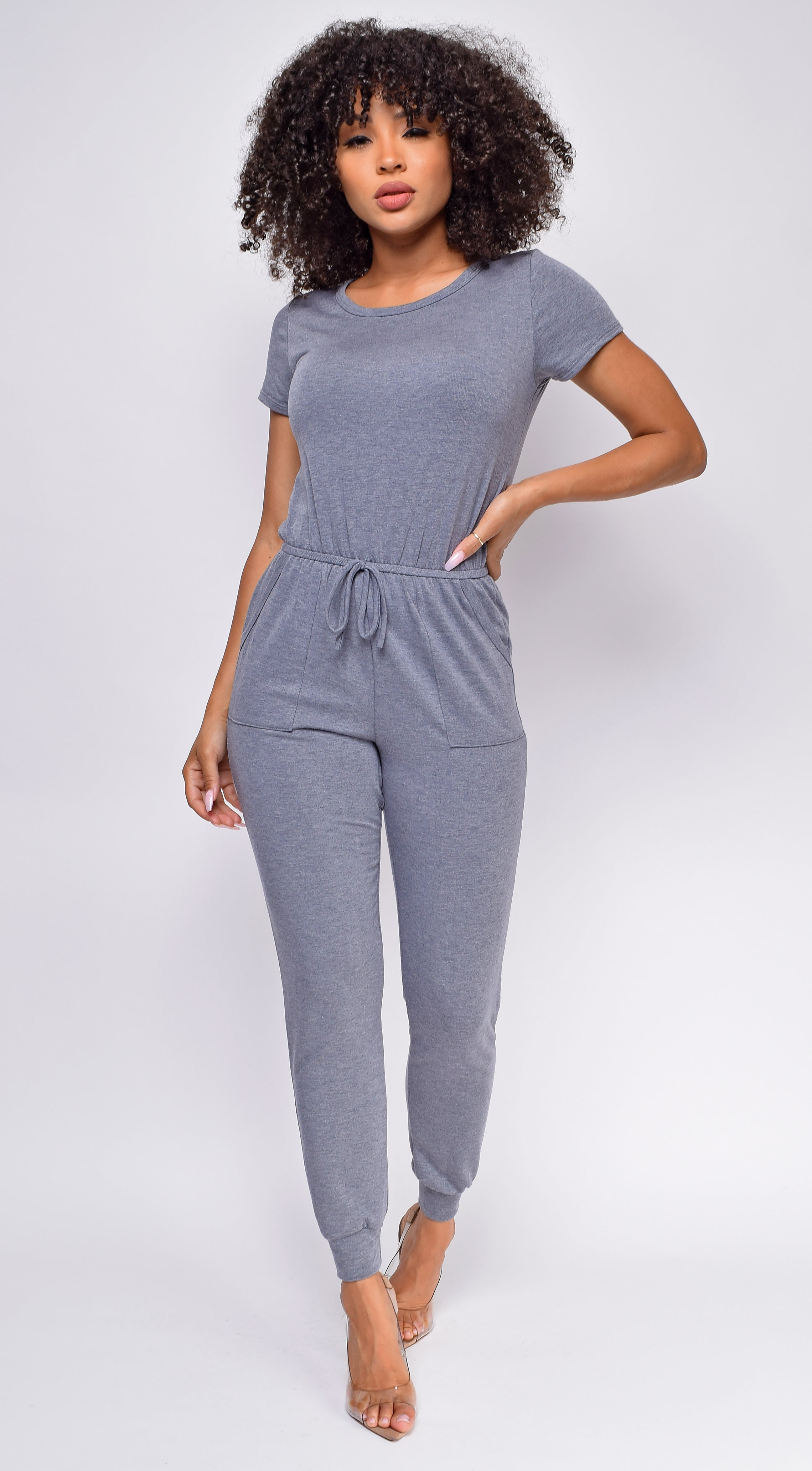 All Day Long Blue Grey Short Sleeve Drawstring Jogger Jumpsuit