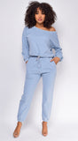 Serious Chills Blue Off Shoulder Sweater and Joggers Lounge Set