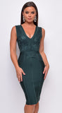 Tavia Green V Neck Lace Bandage Midi Dress