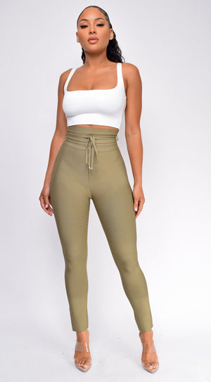 Hara Olive Green High Waist Belted Bandage Pants