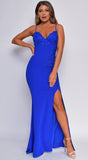 Christiana Royal Blue Floral Lace Applique High Side Slit Gown