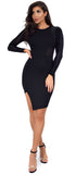 Carolin Black Long Sleeve Velvet Mesh Dress