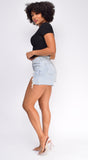 Let's Roll Light Blue Frayed High Waist Denim Shorts