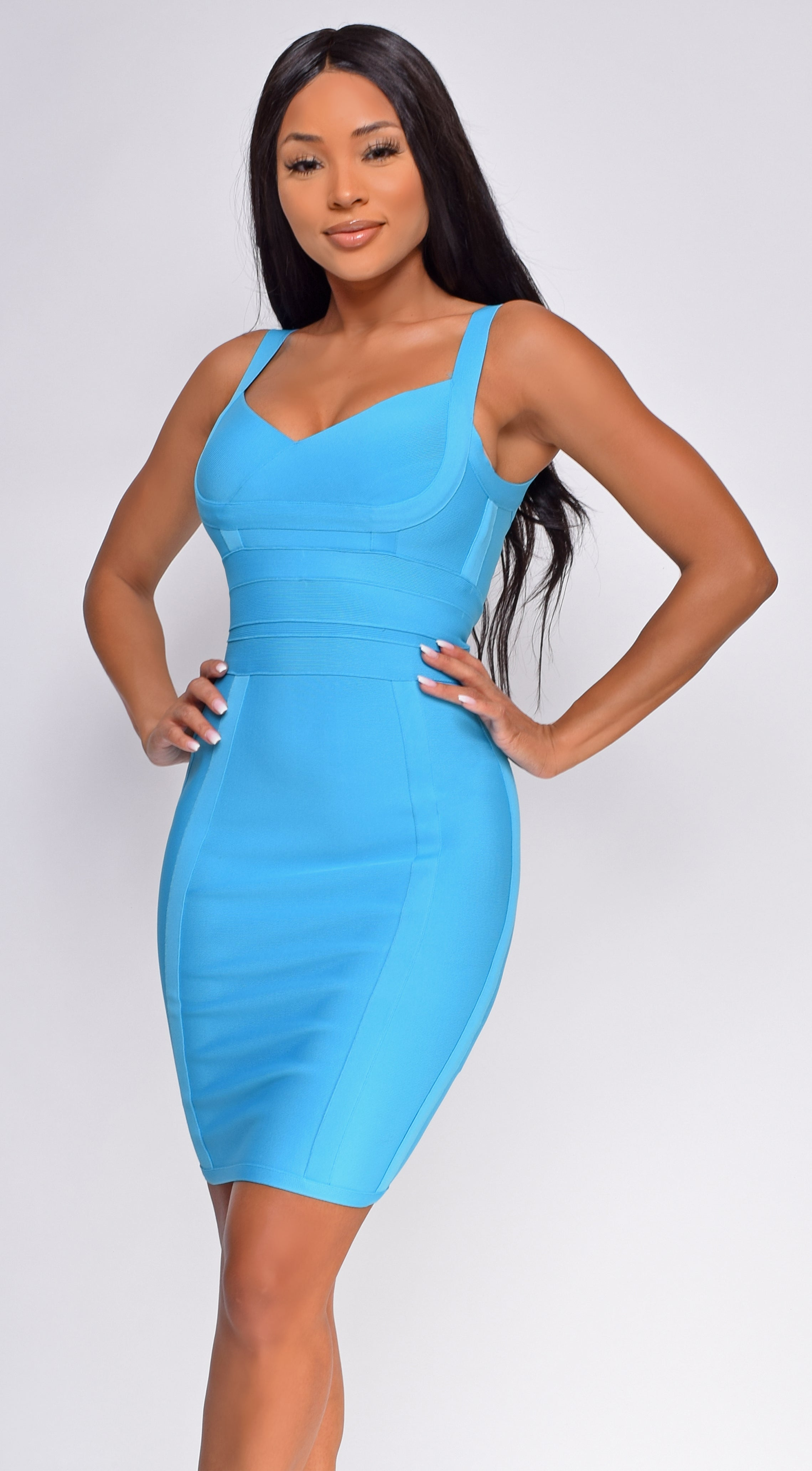 Cedella Blue Bandage Dress