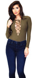 Olive Ribbed Lace Up Bodysuit - Emprada