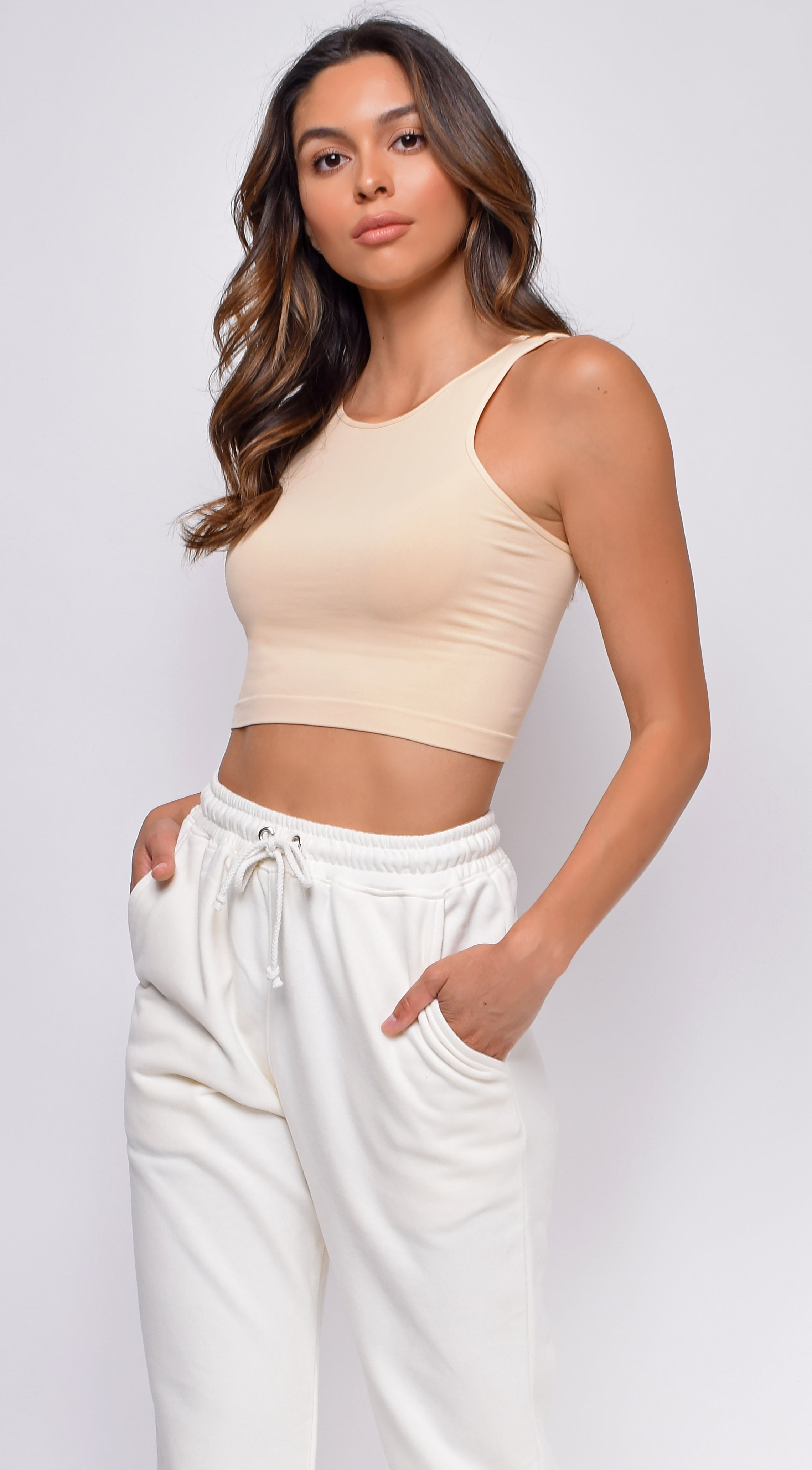 Smooth Moves Nude Beige Basic crop tank top