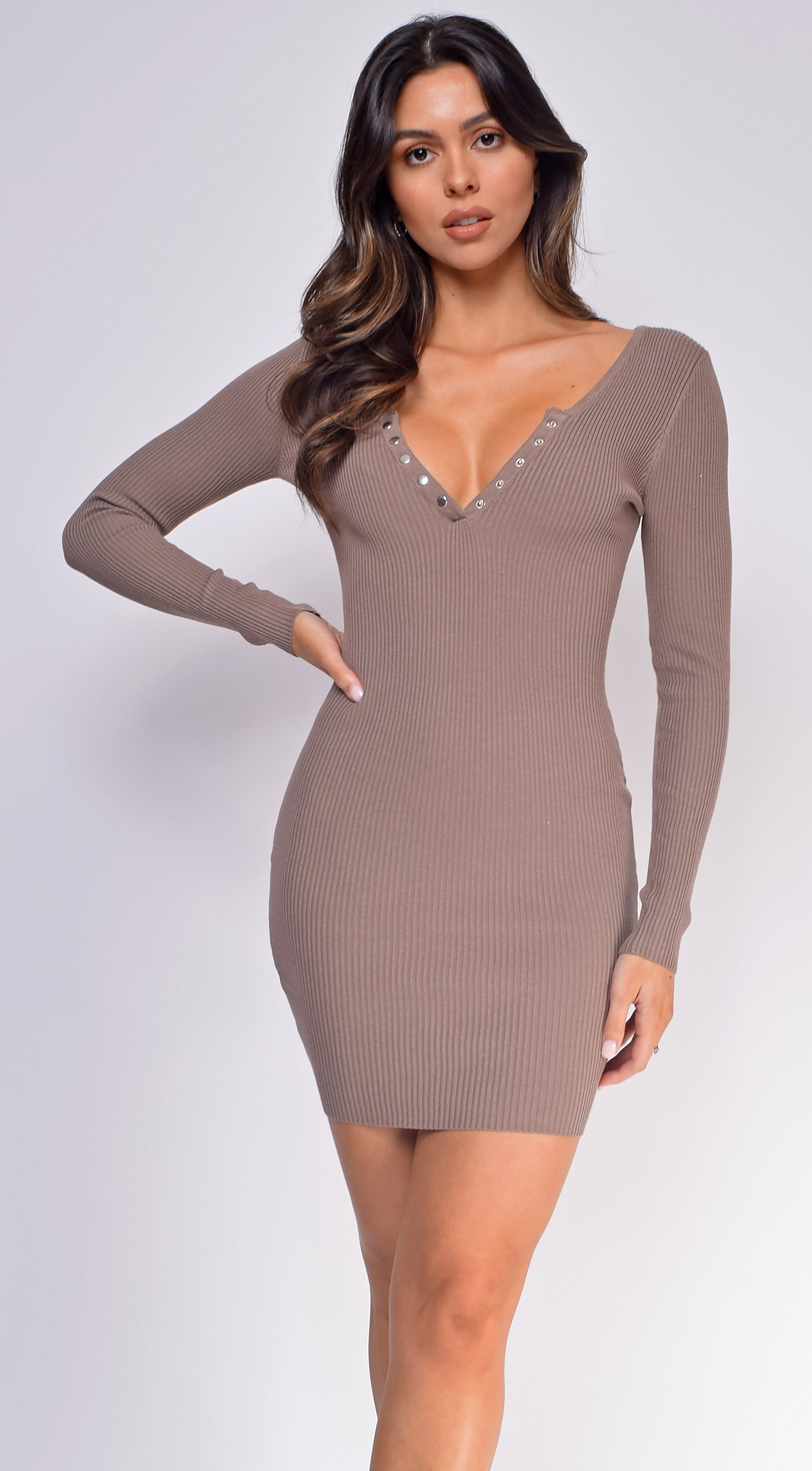 Alana Brown Button Ribbed Long Sleeve Dress