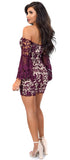 Luna Wine Crochet Lace Flare Sleeve Dress