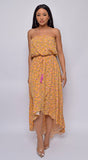 Senna Yellow Tube Belted Floral Print Maxi Dress