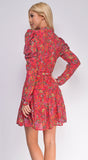 Adore Me Floral Print Waist Tie Puff Sleeve Dress
